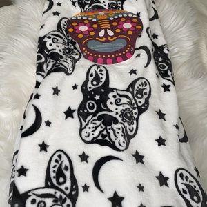 🎃💀 Dia de los Muertos Style French Bulldog Throw Blanket Black & White NEW